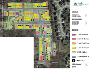Park Springs site map with available lots